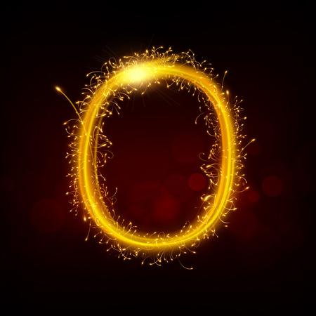 sparkler: 3d sparkler firework number 0 isolated on black background Illustration