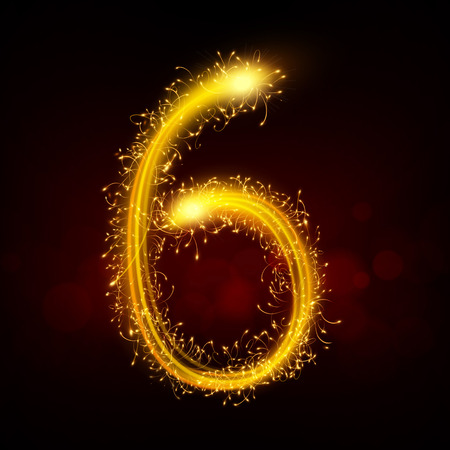 3d sparkler firework number 6 isolated on black background