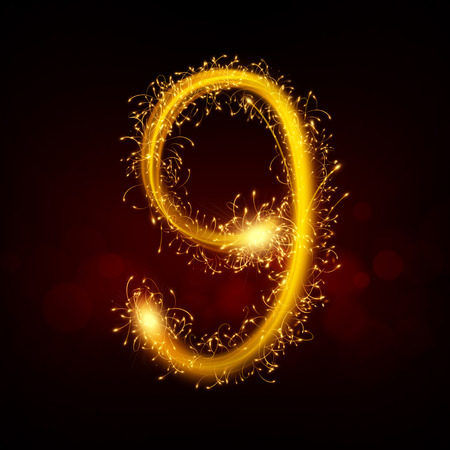 sparkler: 3d sparkler firework number 9 isolated on black background