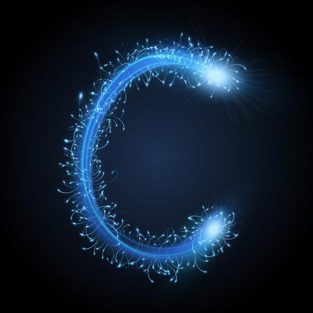 letter c: 3d blue sparkler firework letter C isolated on black background