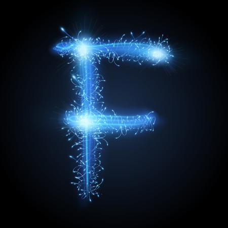 sparkler: 3d blue sparkler firework letter F isolated on black background