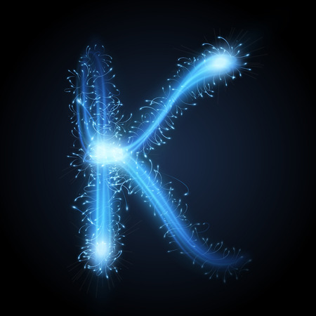 business letters: 3d blue sparkler firework letter K isolated on black background