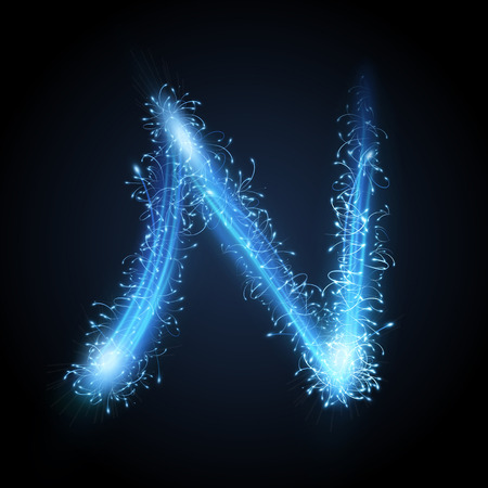 3d blue sparkler firework letter N isolated on black background Illustration