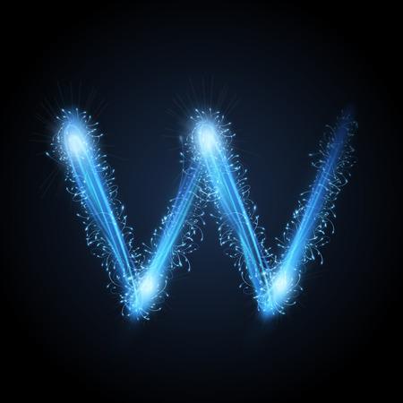 3d blue sparkler firework letter W isolated on black background