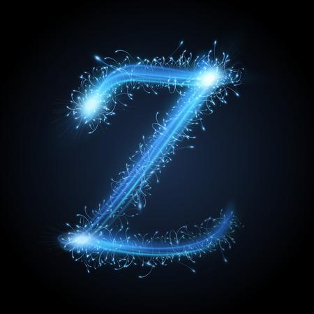 sparkler: 3d blue sparkler firework letter Z isolated on black background