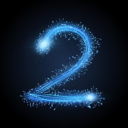 3d blue sparkler firework number 2 isolated on black background Vector