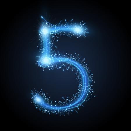 sparkler: 3d blue sparkler firework number 5 isolated on black background Illustration