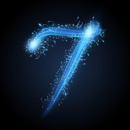 number 7: 3d blue sparkler firework number 7 isolated on black background