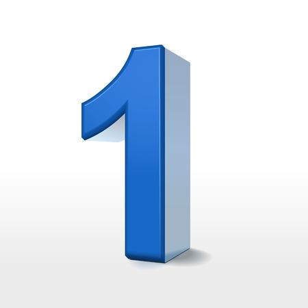 白い背景に分離された 3 d ブルー会員番号 1