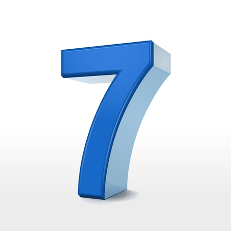 number 7: 3d blue number 7 isolated on white background Illustration