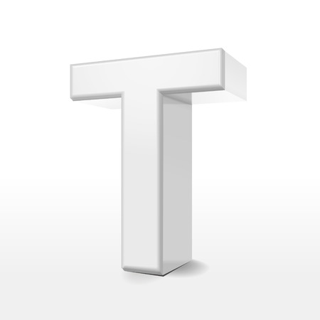 t background: 3d white alphabet T isolated on white background