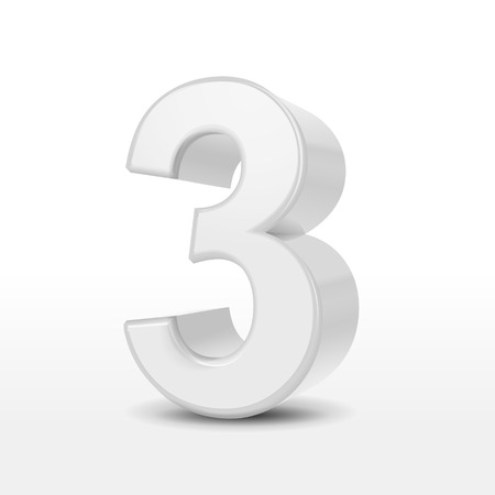 number 3: 3d white number 3  isolated on white background