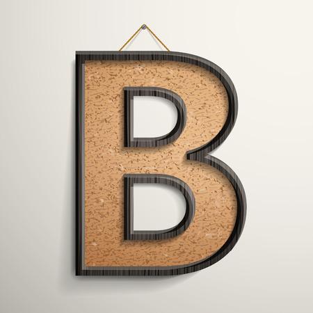 cork: 3d wooden frame cork board letter B isolated on beige background