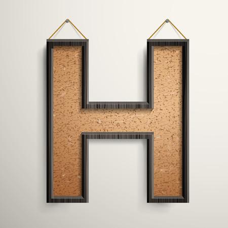 wooden frame: 3d wooden frame cork board letter H isolated on beige background