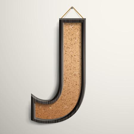 wooden frame: 3d wooden frame cork board letter J isolated on beige background
