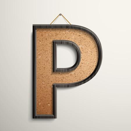 cork board: 3d wooden frame cork board letter P isolated on beige background