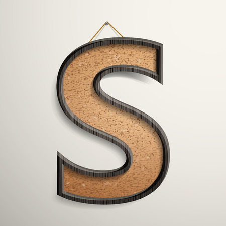 cork board: 3d wooden frame cork board letter S isolated on beige background
