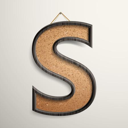wooden frame: 3d wooden frame cork board letter S isolated on beige background