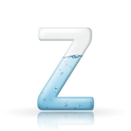 buchstabe z: 3d sauberes Wasser Buchstabe Z isoliert auf wei�em Hintergrund