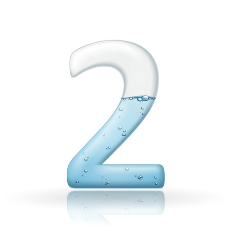 3d clean water number 2 isolated on white background