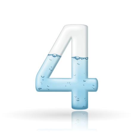 3d número agua limpia 4 aislado en fondo blanco Foto de archivo - 38549541