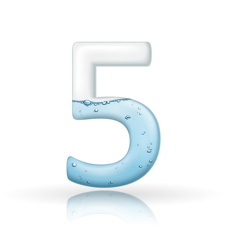 number 5: 3d clean water number 5 isolated on white background