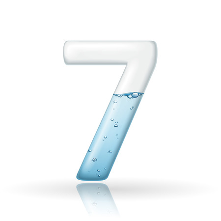 number 7: 3d clean water number 7 isolated on white background