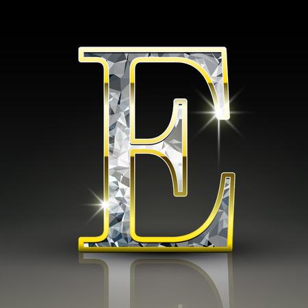 diamond letter: 3d splendida lettera diamante E isolato su sfondo nero