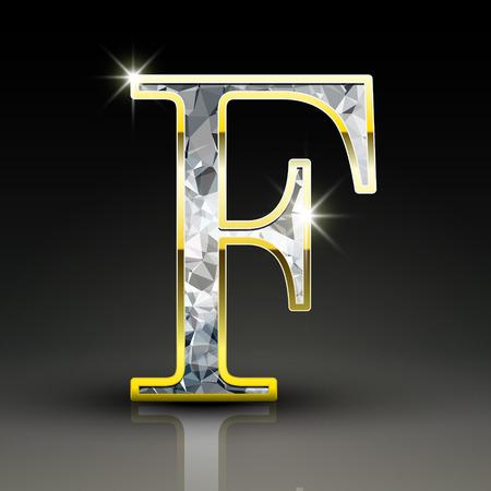 diamond letter: 3d splendida lettera F diamante isolato su sfondo nero
