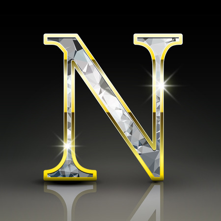 3d gorgeous diamond letter N isolated on black background Illustration
