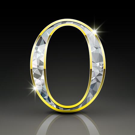 diamond letter: 3d splendida lettera diamante O isolato su sfondo nero