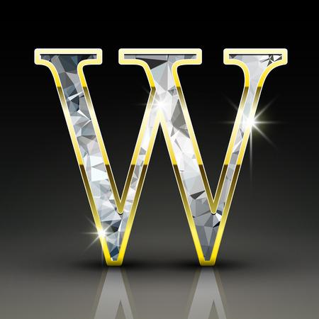 diamond letter: 3d splendida lettera diamante W isolato su sfondo nero