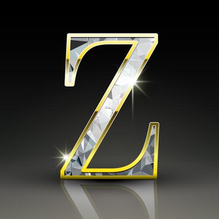 letter z: 3d gorgeous diamond letter Z isolated on black background