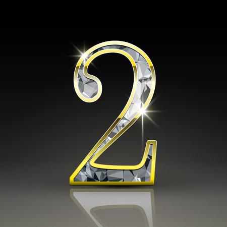 검은 배경에 고립 된 3d 화려한 다이아몬드 번호 2 일러스트