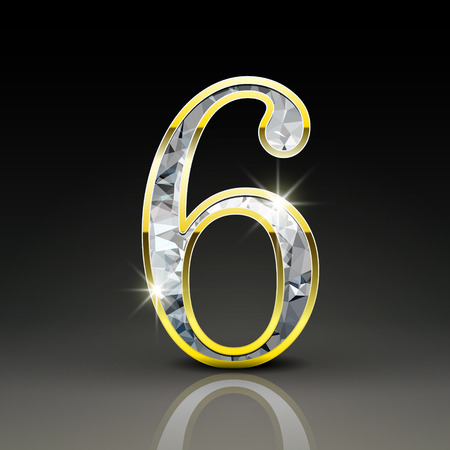 3d gorgeous diamond number 6 isolated on black background