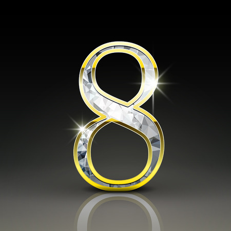 number 8: 3d gorgeous diamond number 8 isolated on black background