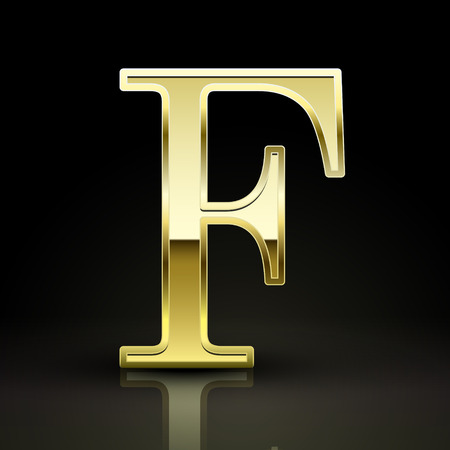 letter f: 3d elegant golden letter F isolated on black background