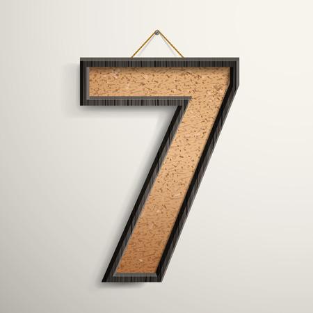 number 7: 3d wooden frame cork board number 7 isolated on beige background Illustration