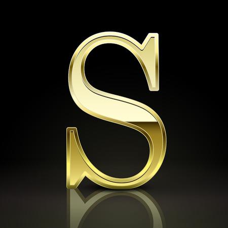 s alphabet: 3d elegant golden letter S isolated on black background