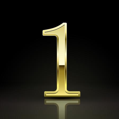 number 1: 3d elegant golden number 1 isolated on black background