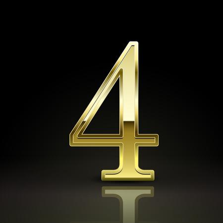 number 4: 3d elegant golden number 4 isolated on black background