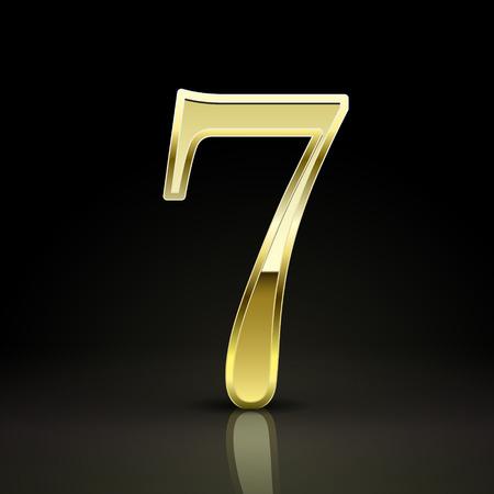 number 7: 3d elegant golden number 7 isolated on black background