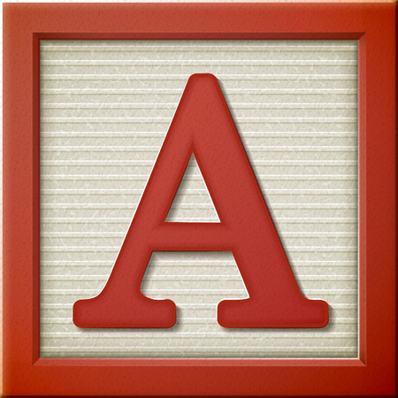 close up look at 3d red letter block A Illustration