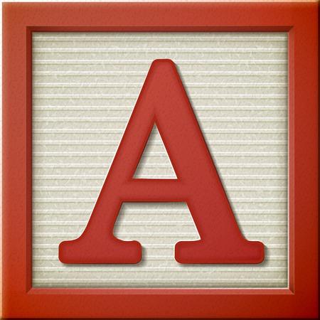 Vicino sguardo 3d lettera rossa blocco A Archivio Fotografico - 38556099