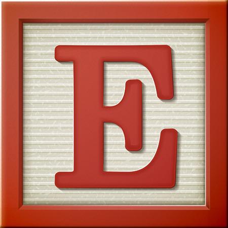 3d 빨간색 편지 블록 E는 모습을 닫습니다 일러스트
