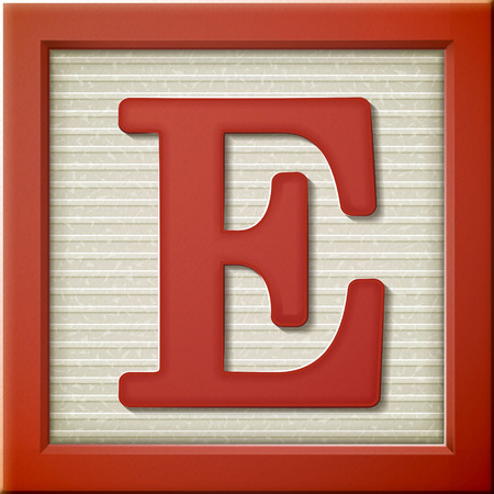 close up look at 3d red letter block E