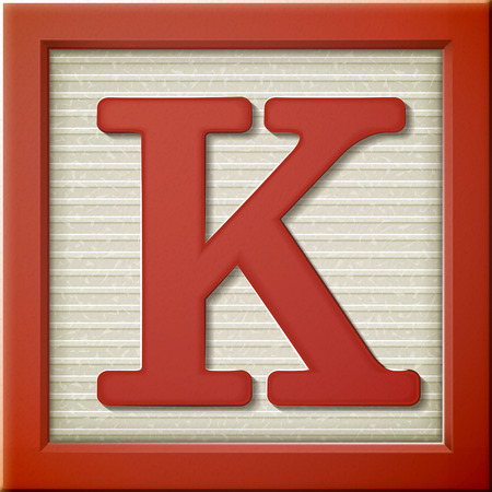 close up look at 3d red letter block K