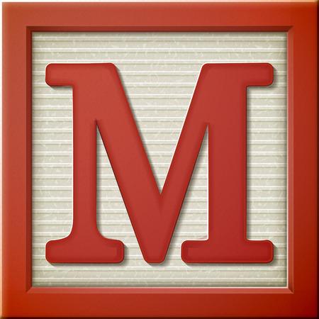 close up look at 3d red letter block M Ilustração
