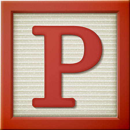 close p: close up look at 3d red letter block P