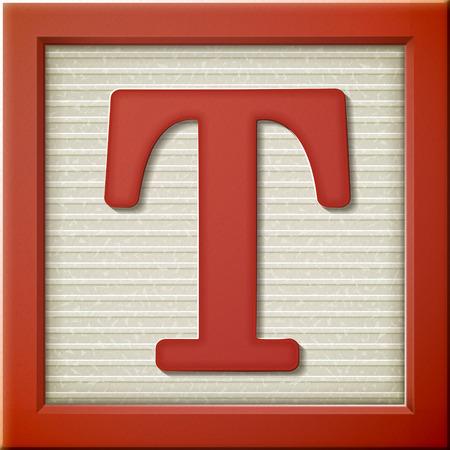 3d 빨간 편지 블록 T를 닫습니다 일러스트